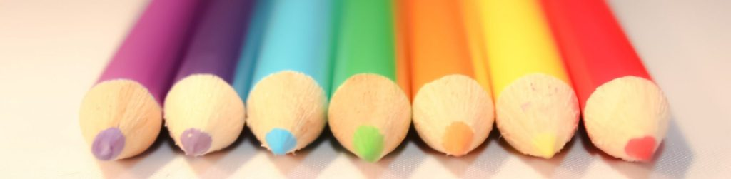 Image of a line of coloured pencils in different colours