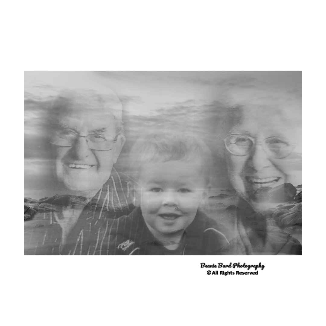 Black and white image of a young boy and an elderly couple blended onto the background of a beach