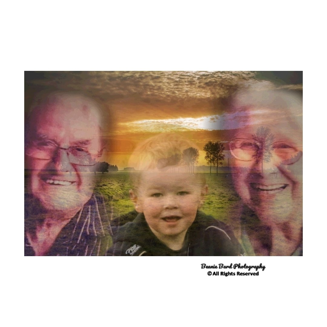 Edited photo of a young boy and an elderly couple blended onto a background of a sunset over a field