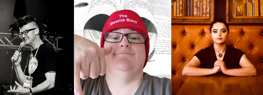 "Image of 3 people. A black and white photo of a man with a mohawk speaking into a microphone, a photo of a woman in glasses and wearing a beanie saying ""The Beanie Bard"" with a background of pages with words on and a woman sat at a table with books behind her"