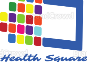 An a image composed of a small grid of coloured squares  making up half of a blue edged rectangle. Text underneath reads 'Health square'