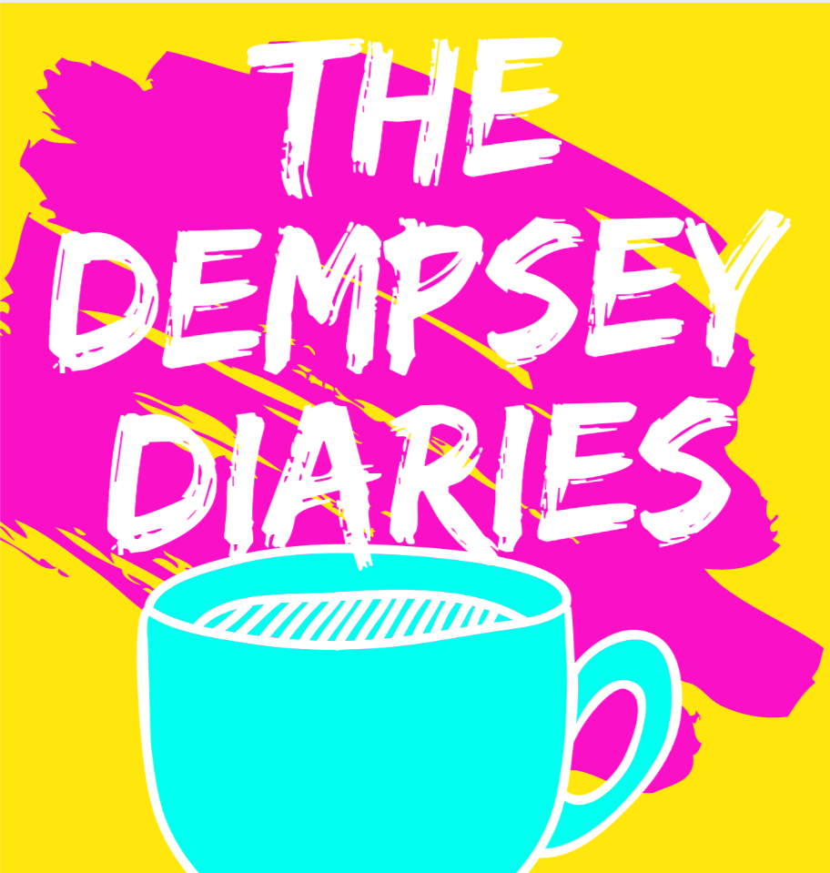Yellow circle, with a pink scribble effect and a blue teacup. Writing reads 'The Dempsey diaries'
