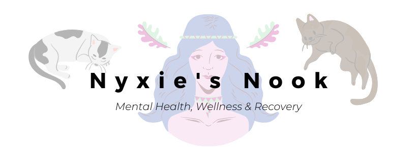 The head and shoulders of a woman with blue hair and a headband, with cats to either side of her. The wording over the image reads 'Nyxie's Nook, Mental Health, Wellness and recovery'