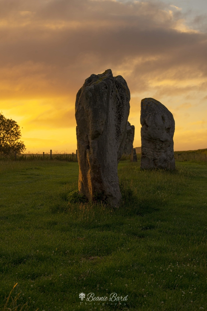 An image of two large standing stones in a grassy field. The sky in the background is cloudy and orange