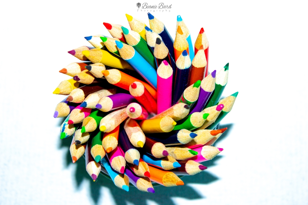 A swirling shape made up of pencils