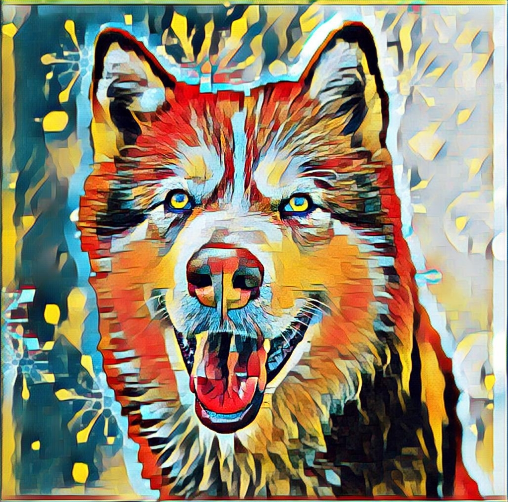 Image of a malamute dog, image is in a paint effect in oranges, blues and yellows. Caption reads 'Murphy of Murphy's Doggy Deli. Photo edit work by The Beanie Bard'