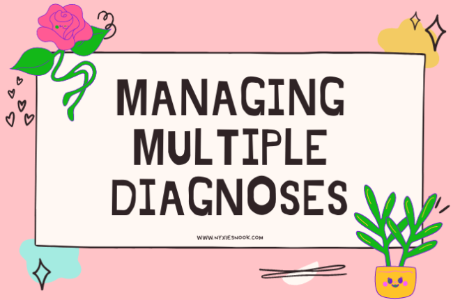 The words managing multiple diagnoses on a pink background with plants and flowers