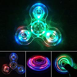 4 pictures in a block of fidget spinner toys with glowing lights in them