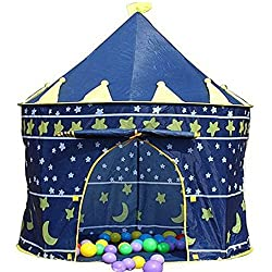 A small blue and gold childrens tent, with stars on it